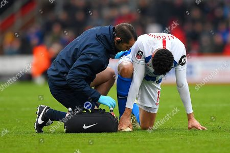 Injury concern for Leon Balogun of Brighton and Hove Albion during AFC Bournemouth vs Brighton & Hove Albion, Emirates FA Cup Football at the Vitality Stadium on 5th January 2019