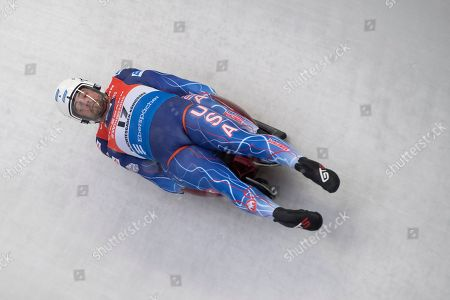 Chris Mazdzer and Jayson Terdiman of the USA in action during the first run of the doubles competition for the Luge World Cup in Schoenau am Koenigssee, Germany, 05 January 2019.