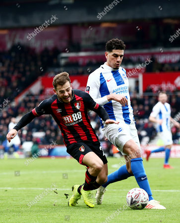 Ryan Fraser of Bournemouth and Leon Balogun of Brighton & Hove Albion.