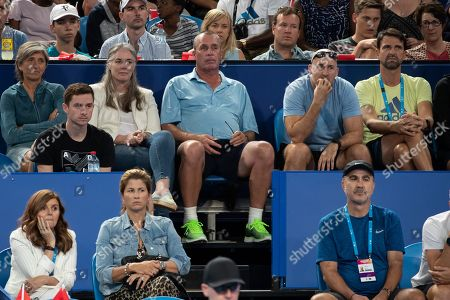Stock Picture of L-R. Irina Zverev, Samantha and Ivan Lendl, Fitness Trainer Jez Green and Physiotherapeut Hugo Gravil
