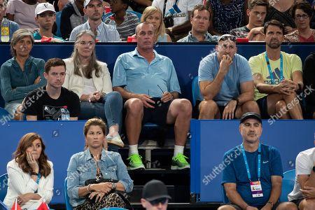L-R. Irina Zverev, Samantha and Ivan Lendl, Fitness Trainer Jez Green and Physiotherapeut Hugo Gravil