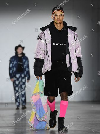 Models present creations by British designer Bobby Abley during the London Fashion Week Men's, in London, Britain, 05 January 2019. The LFWM runs from 05 to 07 January.