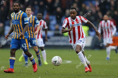 Stoke City forward Saido Berahino (19) during the The FA Cup 3rd round match between Shrewsbury Town and Stoke City at Greenhous Meadow, Shrewsbury
