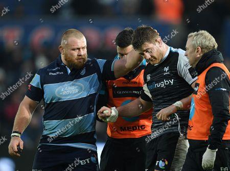 Ospreys vs Cardiff Blues. Cardiff Blues' Dimitri Arhip consoles Rhodri Jones of Ospreys