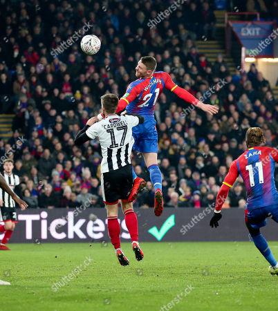 Connor Wickham of Crystal Palace flicks on a header