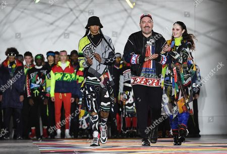 Designer James Long (C) from Italian label Iceberg appears with models on the runway during the London Fashion Week Men's, in London, Britain, 05 January 2019. The LFWM runs from 05 to 07 January.