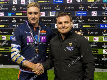 Edinburgh vs Isuzu Southern Kings. Edinburgh's Dougie Fife receives the man of the match medal from William Emslie of Guinness