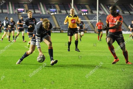 First try of the game for Dougie Fife the Guinness Pro 14 2018_19 match between Edinburgh Rugby and Southern Kings at BT Murrayfield Stadium, Edinburgh