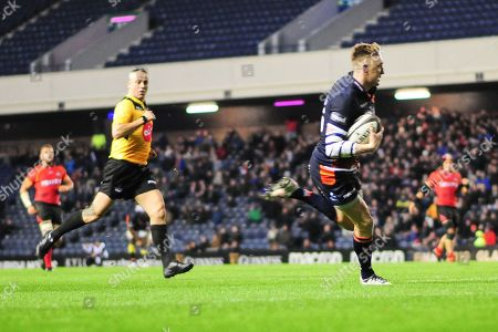 Dougie Fife runs in the first try during the Guinness Pro 14 2018_19 match between Edinburgh Rugby and Southern Kings at BT Murrayfield Stadium, Edinburgh