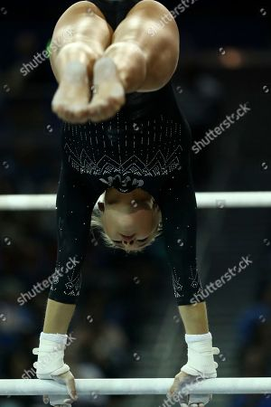 Madison Kocian of UCLA during an NCAA college gymnastics match, in Los Angeles