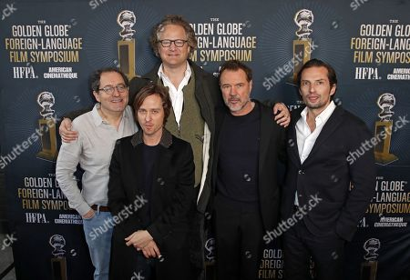 Florian Henckel von Donnersmarck (C) poses with Michael Barker (L), Co-President and Co-Founder of Sony Pictures Classics, and cast members Tom Schilling and Sebastian Kock, and producer Quirin Berg as he arrives for the 2019 Golden Globe Foreign-Language Film Symposium at the Liaison Restaurant and Lounge, in Hollywood, California, USA, 05 January 2019. Henckel von Donnersmarck is nominated for his film Never Look Away.