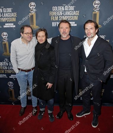 Michael Barker, Co-President and Co-Founder of Sony Pictures Classics, cast members Tom Schilling and Sebastian Koch, and producer Quirin Berg as he arrives for the 2019 Golden Globe Foreign-Language Film Symposium at the Liaison Restaurant and Lounge, in Hollywood, California, USA, 05 January 2019. Henckel von Donnersmarck is nominated for his film Never Look Away.