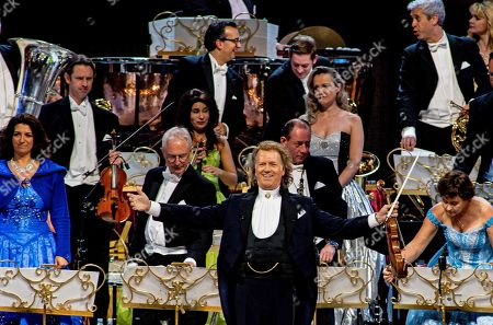 Dutch violinist Andre Rieu (C) performs with his orchestra during their New Years concert in the Ziggo Dome in Amsterdam, the Netherlands, 05 January 2019.