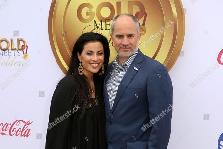 Stock Photo of Bahar Soomekh, Clayton Frech. Bahar Soomekh, left, and Clayton Frech arrive at the '6th Annual Gold Meets Golden', in West Hollywood, Calif