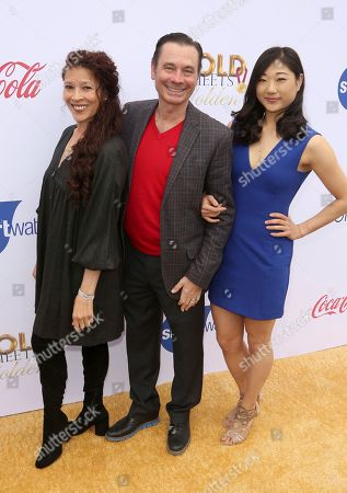 Stock Image of Tai Babilonia. Randy Garner, Mirai Nagasu. Tai Babilonia, from left, Randy Garner and Mirai Nagasu arrive at the '6th Annual Gold Meets Golden', in West Hollywood, Calif
