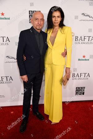 Sir Ben Kingsley, Daniela Lavender. Actor Sir Ben Kingsley and his wife Daniela Lavender pose together at the 2019 BAFTA Tea Party at the Four Seasons Hotel, in Los Angeles