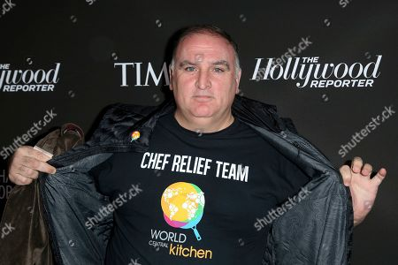 Chef Jose Andres arrives at the 2019 Sean Penn J/P HRO & Disaster Relief Organizations Gala at The Wiltern Theatre, in Los Angeles