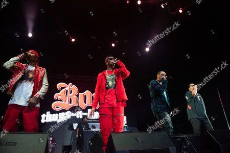 Stock Photo of Wish Bone, Layzie Bone, Krayzie Bone, Flesh-n-Bone. Bones Thugs-n-Harmony performs onstage at State Farm Arena, in Atlanta