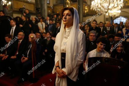 """Maryna Poroshenko. Ukrainian President Petro Poroshenko's wife Maryna attends the presenting the """"Tomos,"""" a scroll containing the decree, in a symbolic ceremony sanctifying the Ukrainian church's independence from the Russian Orthodox Church at the Patriarchal Church of St. George in Istanbul, . An independent Ukrainian Orthodox church has been created at a signing ceremony in Turkey, formalizing a split with the Russian church it had been tied to since 1686"""