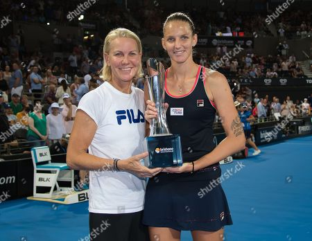Karolina Pliskova of the Czech Republic and coach Rennae Stubbs with the winners trophy after the final