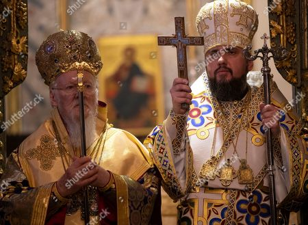 Ecumenical Patriarch Bartholomew I of Constantinople (L) and the Metropolitan Epifaniy (R), the head of the united local Ukrainian Orthodox Church, attend the handing ceremony of the Tomos decree of autocephaly for Ukrainian church at the Patriarchal Church of St. George in Istanbul, Turkey, 06 January 2019. The Metropolitan Epifaniy and top Ukrainian officials arrived in Turkey for the ceremony of the Tomos of autocephaly for newly elected the head of Ukraine Orthodox Church in Istanbul.