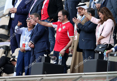 His Royal Highness Prince Ali Bin Al Hussein (C) the President of the Jordan Football Association salute his players after winning the 2019 AFC Asian Cup group B preliminary round match between Australia and Jordan in Al Ain, United Arab Emirates, 06 January 2019.