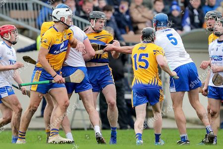 Waterford vs Clare. Tempers flare between Clare's Tony Kelly and Michael Harney of Waterford
