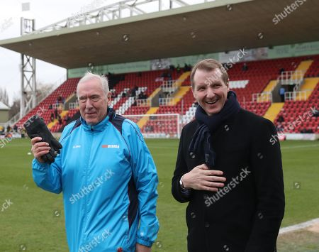 Stock Picture of Woking assistant manager Sky Sports Commentator Martin Tyler with Times Football writer Henry Winter