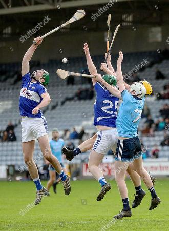 Laois vs Dublin. Laois' Patrick Purcell and Neill Foyle contest a high ball with Darragh Gray and Shane Barrett of Dublin