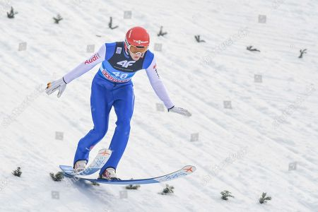 David Siegel of Germany in action during the qualification round for the fourth stage of the 67th Four Hills Tournament in Bischofshofen, Austria, 6 January 2019.