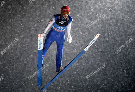 David Siegel from Germany in action during the 1st round for the fourth stage of the 67th Four Hills Tournament in Bischofshofen, Austria, 6 January 2019.