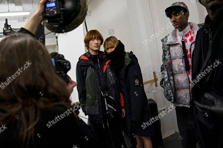 Models backstage prepare to present creations by British designer Christopher Raeburn during London Fashion Week Men's, in London, Britain, 06 January 2019. The LFWM runs from 05 to 07 January.