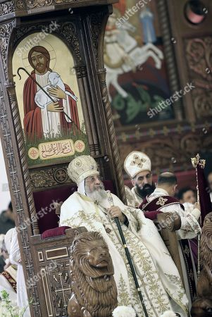 Pope Tawadros II of Alexandria leads a Christmas Eve mass at the newly inaugurated Cathedral of Nativity in the New Administrative Capital, Egypt, 06 January 2019. The Middle East's biggest cathedral is inaugurated by Eygpt's President a day after a deadly bomb blast near a church. Orthodox believers celebrate Christmas Day on 07 January, according to the Julian calendar.