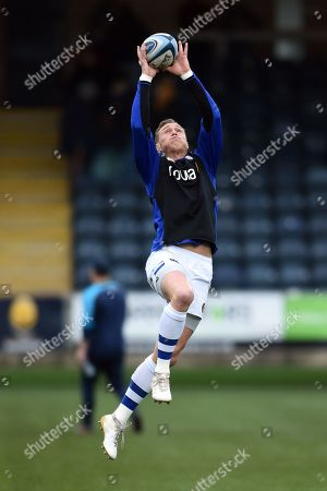 James Wilson of Bath Rugby catches a high ball during the pre-match warm-up