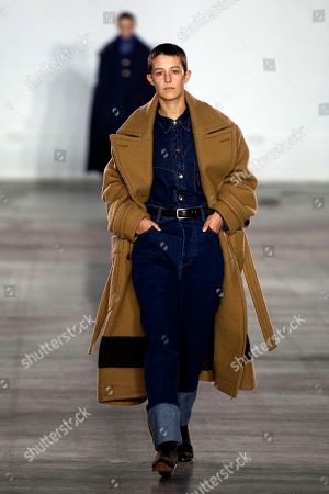 A model presents a creation by British designer Alex Mullins during London Fashion Week Men's, in London, Britain, 06 January 2019. The LFWM runs from 05 to 07 January.