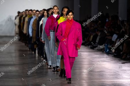 Stock Photo of A model presents a creation by British designer Alex Mullins during London Fashion Week Men's, in London, Britain, 06 January 2019. The LFWM runs from 05 to 07 January.