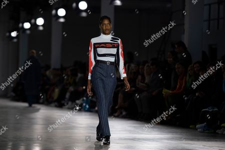 Stock Picture of A model presents a creation by British designer Alex Mullins during London Fashion Week Men's, in London, Britain, 06 January 2019. The LFWM runs from 05 to 07 January.