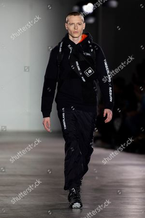 Stock Photo of A model presents a creation by British designer Christopher Raeburn during London Fashion Week Men's, in London, Britain, 06 January 2019. The LFWM runs from 05 to 07 January.