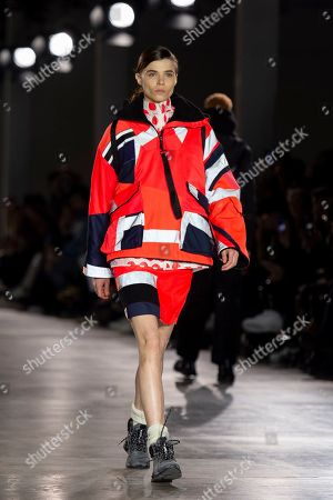 Stock Image of A model presents a creation by British designer Christopher Raeburn during London Fashion Week Men's, in London, Britain, 06 January 2019. The LFWM runs from 05 to 07 January.