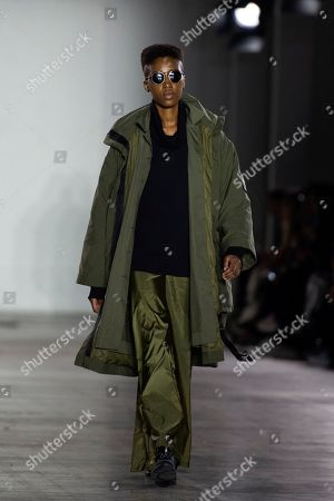 A model presents a creation by British designer Christopher Raeburn, during London Fashion Week Men's, in London, Britain, 06 January 2019. The LFWM runs from 05 to 07 January.