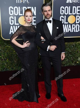 Jessica Chastain, Gian Luca Passi de Preposulo. Jessica Chastain, left, and Gian Luca Passi de Preposulo arrive at the 76th annual Golden Globe Awards at the Beverly Hilton Hotel, in Beverly Hills, Calif