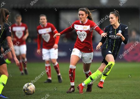 Stock Image of Ella Rutherford of Bristol City challenges Caroline Weir of Manchester City Women- Mandatory by-line: Nizaam Jones/JMP
