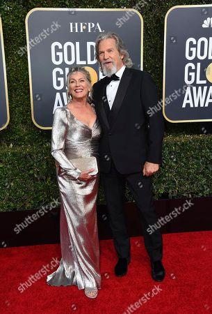 Jeff Bridges, Susan Bridges. Jeff Bridges, right, and Susan Bridges arrive at the 76th annual Golden Globe Awards at the Beverly Hilton Hotel, in Beverly Hills, Calif