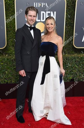 Kaley Cuoco, Karl Cook. Kaley Cuoco, right, and Karl Cook arrive at the 76th annual Golden Globe Awards at the Beverly Hilton Hotel, in Beverly Hills, Calif