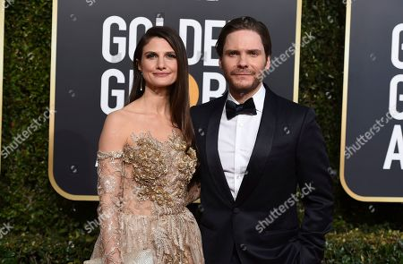 Felicitas Rombold, Daniel Bruhl. Felicitas Rombold, left, and Daniel Bruhl arrive at the 76th annual Golden Globe Awards at the Beverly Hilton Hotel, in Beverly Hills, Calif