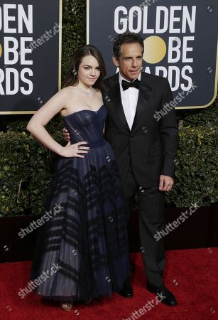 Ben Stiller (R) and Ella Stiller (L) arrives for the 76th annual Golden Globe Awards ceremony at the Beverly Hilton Hotel, in Beverly Hills, California, USA, 06 January 2019.