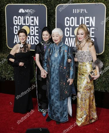 Lisa Lu (2R) arrives with a group for the 76th annual Golden Globe Awards ceremony at the Beverly Hilton Hotel, in Beverly Hills, California, USA, 06 January 2019.