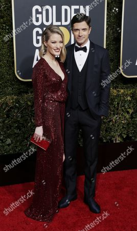 Topher Grace (R) and Ashley Hinshaw arrives for the 76th annual Golden Globe Awards ceremony at the Beverly Hilton Hotel, in Beverly Hills, California, USA, 06 January 2019.