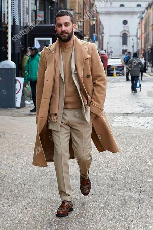 Editorial photo of Street Style, Fall Winter 2019, London Fashion Week Men's, UK - 06 Jan 2019
