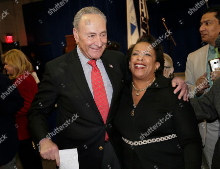 Chuck Schumer, Loretta Lynch. United States Senator Chuck Schumer greets former Attorney General Loretta Lynch during an inauguration ceremony for the new Attorney General of New York, Letitia James, in New York